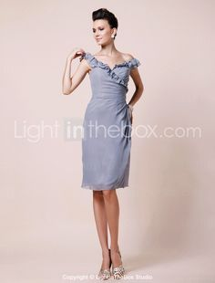Sheath/ Column Off-the-shoulder Knee-length Chiffon Mother of the Bride Dress, also I love her hair.
