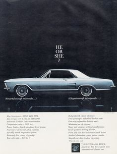 1963 Buick Riveria Car Ad Blue Automobile Photo Vintage Advertising Print Wall Decor Art