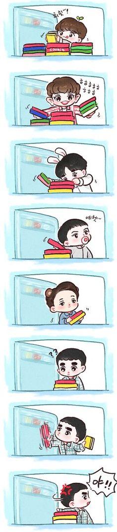 Kaisoo, Kyungsoo, Chanyeol, Exo Cartoon, Cute Cartoon, Exo Memes, Funny Memes, 5 Years With Exo, Exo Anime