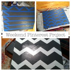 Chevron Canvas Tip: remove horizontal painters tape before painting chevron pattern