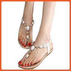 Partiss Women's Beads Thong Flat Sandals, 40CN,White - Sandals for women (*Amazon Partner-Link)