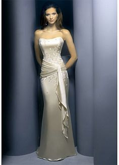 Stretch Satin Sheath Prom Dress With First-class Fabric And Exquisite Handwork...It may be a prom dress but it would also make a very cute wedding dress!