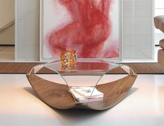 Contemporary glass coffee table with choice of walnut or white base