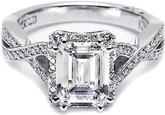 Engagement rings by Tacori feature the iconic crescent design. Each engagement ring is expertly handcrafted by our artisans in California and are custom made for your Tacori Girl. The details in a Tacori ring create stunning beauty from every angle. Tacori Rings, Tacori Engagement Rings, Emerald Cut Diamond Engagement Ring, Emerald Cut Diamonds, Black Diamonds, Diamond Rings, Pretty Rings, Beautiful Rings, Angelina Jolie Engagement Ring