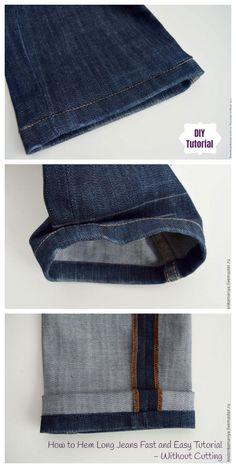 How to Perectly Hem Long Jeans Fast and Easy Tutorial without Cutting (And Keep Original Hem) Source by DIYDailyMag Sewing Hems, Sewing Pants, Altering Jeans, Altering Clothes, Sewing Alterations, Clothing Alterations, Hemming Jeans, Diy Fashion, Fashion Outfits