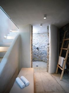 Bathroom, Pylaia Hotel on the Dodecanese Islands, Greece Spa Design, House Design, Loft Design, Interior Architecture, Interior And Exterior, Rustic Bathroom Lighting, Interior Styling, Interior Design, Bathroom Inspiration