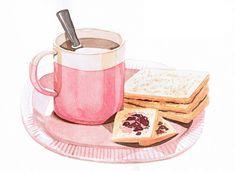 art, breakfast, and coffee image