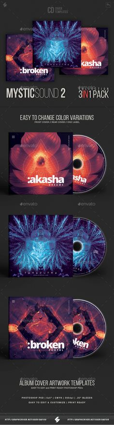 Mystic Sound Collection 2 - #CD Cover Artwork Templates Bundle - CD & DVD #Artwork Print Templates