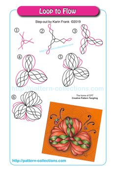 Loop to Flow by Karin Frank Zentangle Drawings, Doodles Zentangles, Doodle Drawings, Doodle Art, Zen Doodle, Mehndi, Henna, Tangle Doodle, Tangle Art