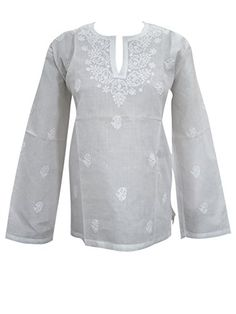 Women's Indian Tunic Top Floral Embroidered White Boho Hippie Summer Blouse Large Mogul Interior http://www.amazon.com/dp/B012A665AK/ref=cm_sw_r_pi_dp_59.Rvb0B8KJGT