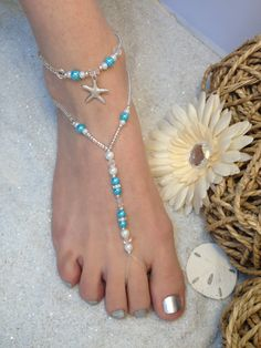 Items similar to Starfish Foot Jewelry Wedding Barefoot Sandal and Anklet, Pearl and Rhinestone on Etsy Ankle Jewelry, Body Chain Jewelry, Ankle Bracelets, Beaded Bracelets, Foot Jewelry Wedding, Beach Wedding Shoes, Seashell Jewelry, Beach Jewelry, Craft Jewelry