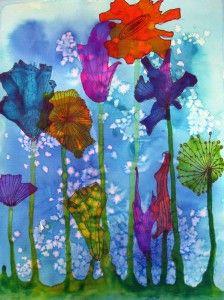 No-Brush Watercolor Flowers