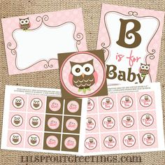Girl Owl Baby Shower Printable Decorations by lilsproutgreetings, $10.00 <3