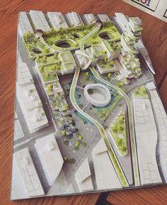 Huainan City Park by The Jerde Partnership Landscape Architecture Model, Landscape Model, Urban Landscape, Landscape Design, Architecture Tools, Landscape Arquitecture, Planer Layout, Urban Design Plan, Arch Model