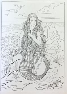 Mermaid Coloring Pages, Colouring Pages, Adult Coloring Pages, Coloring Books, Coloring Sheets, Mermaid Pictures, Mermaid Pics, Mermaid Art, Mermaid Style