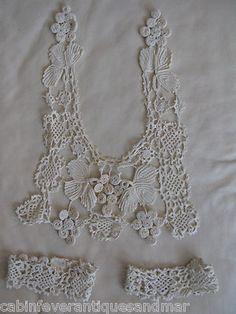 Antique Victorian Bridal Off White Grape Irish Crochet Lace Dress Collar Cuffs |