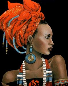 African beauty portrait of a woman African American Art, African Art, African Beauty, African Women, Beautiful Artwork, Black Is Beautiful, Beautiful Lips, Beautiful Pictures, Art Afro