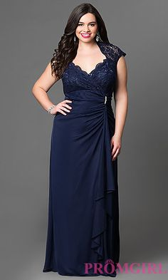 Empire Waist Dress with Lace Bodice by Onyx Nite at PromGirl.com