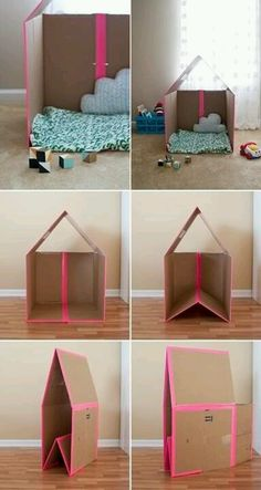 Making a collapsible playhouse out of a simple cardboard box is easier than you think - Smart House - Ideas of Smart House - Collapsible Cardboard House instructions toddler kid recycle baby fun easy play castle DIY Kids Crafts, Projects For Kids, Diy For Kids, Diy Projects, Art Crafts, Summer Crafts, Cardboard Playhouse, Diy Cardboard, Cardboard Box Houses