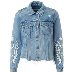 Philly Embroidered Denim Jacket ❤ liked on Polyvore featuring outerwear, jackets, embroidered jean jacket, blue denim jacket, blue jackets, jean jacket and blue jean jacket