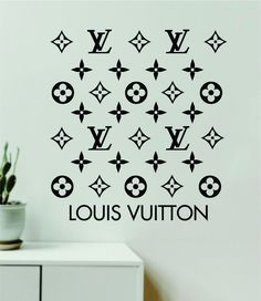 Louis Vuitton Logo Pattern V5 Wall Decal Home Decor Bedroom Room Vinyl Sticker Art Quote Designer Brand Luxury Girls Cute Expensive LV - purple