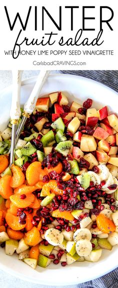 Irresistibly delicious, fresh and vibrant Winter Fruit Salad with Honey Lime Poppy Seed Vinaigrette is simple to whip together but can't stop eating delicious! Serve it with @CPKFrozen Pizza and Roasted Parmesan Broccoli to #BalanceYourPlate for a delicious, quick, convenient, nutritious meal for those busy nights! #ad