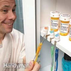 If you keep your toothbrushes in the medicine cabinet stacked on a shelf, they probably fall out when you open the door. If you cut notches in the cabinet shelves, you'll solve this annoying nuisance. Use a rotary tool along with a woodcutting bit and sanding drum.
