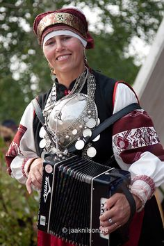 Woman with Accordion, Seto Folk Festival Seto Kuningriigi Päev in Mikitamäe, Setomaa, Põlva County, Estonia, Europe