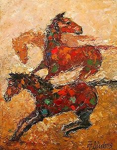 ANDRE DLUHOS equine horses equestrian ORIGINAL palette knife painting millennial
