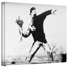 Art Wall Flower Throwers Gallery Wrapped Canvas by Banksy,