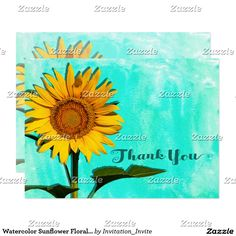 Watercolor Sunflower Floral Thank You Card This beautiful thank you features nature landscape photography of a beautiful summer sunflower with a blue - green watercolor background. Photographed at the Forks Of The River Wildlife Management Area in one of the many fields of flowers there. Matching products are available in my shop.