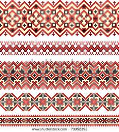 embroidered good like handmade cross-stitch ethnic Ukraine pattern by karakotsya, via Shutterstock