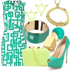 Teal and Chartreuse Strength by essentialglimmer on Polyvore