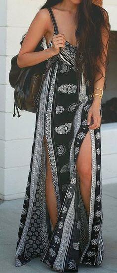 O Neill Casty Ivory Black Printed Maxi Dress