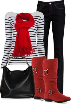 "Already have the red boots and stripe top!  ""Black and red"" by maizie2020 on Polyvore"