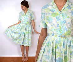 50s Watercolor Print Dress | Blue Green Floral Cotton Dress | Midcentury Dress