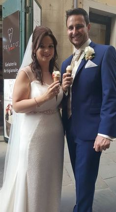 """After the ceremony Marc and Maria enjoy their """"gelato moment""""...."""