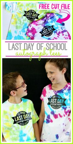 DIY Last day of school autograph tees with FREE cut file from MichaelsMakers Sugarbee Crafts