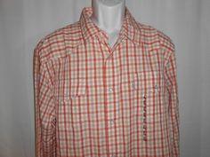LEVI'S Plaid Shirt Pearl Snap Men Sz XL Western Cowboy Orange Long Slv MSRP $56 #Levis #Western