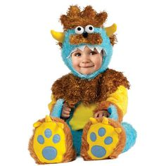This delightful monster is the perfect look for your bouncing baby boy. His fuzzy plush fur is soft and whimsical; the colors are vibrant and cute. Your baby will be picture perfect in this yellow, br