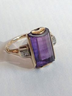 Antique 3 ct Amethyst Ring 14k Gold by PosiesForLuluVintage