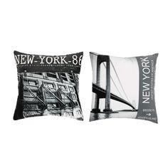 2 cuscini in tessuto bianco e nero 40 x 40 cm BROOKLYN