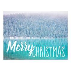 Merry Christmas Trees Lake Postcard - Xmascards ChristmasEve Christmas Eve Christmas merry xmas family holy kids gifts holidays Santa cards