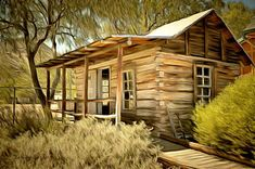 Log Cabin Painting - Kern River Miners Cabin by Barbara Snyder