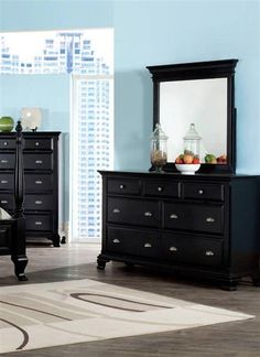 Canterbury Traditional Black Wood Glass Dresser And Mirror