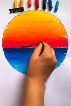 Oil Pastel Drawings Easy, Oil Pastel Paintings, Art Drawings For Kids, Art Drawings Sketches Simple, Drawing Ideas, Crayon Drawings, Crayon Art, Canvas Painting Tutorials, Diy Canvas Art