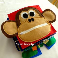 Monkey Zipper Mouth Quiet Book Page by SweetJuicyApril on Etsy