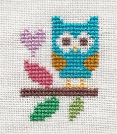 "Design - ""Blue Owl""  (freebie)   Designer - The Stitching Shed   Fabric - 32 count white linen   Fibers - DMC - 2 strands over 2 threads ..."