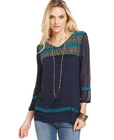 Lucky Brand Jeans Top, Three-Quarter V-Neck Embroidered - Tops - Women - Macys