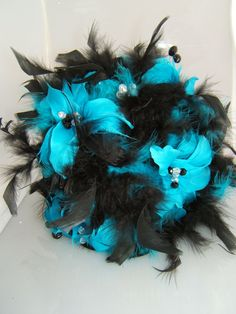 Turquoise and Black Feather Bouquet by CreativeCalling1 on Etsy, $89.98 an idea for brits wedding ;)